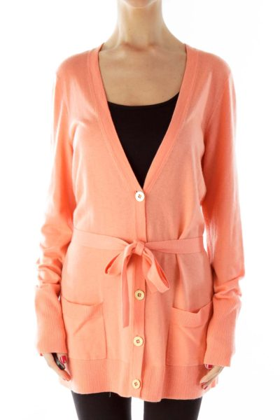Peach Buttoned V-Neck Pocketed Cardigan