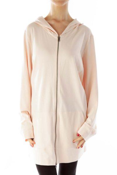 Pink Hooded Pocketed Jacket