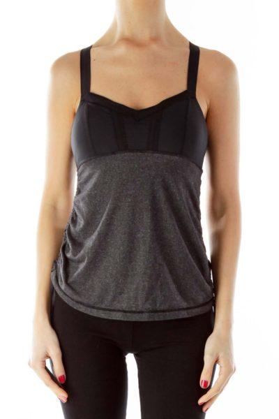 Gray Black Scrunched Drawstring Yoga Top