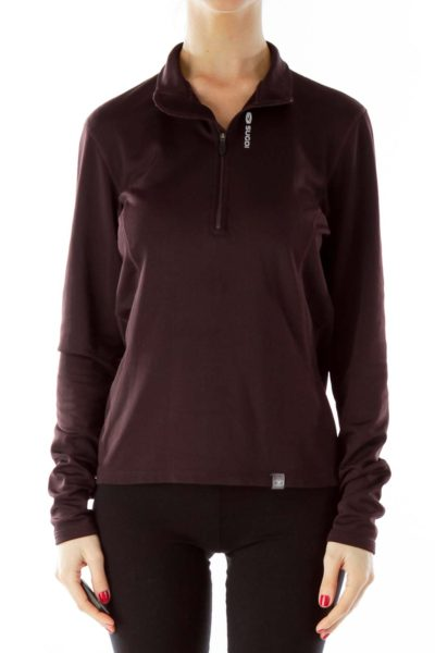 Brown Zippered Sports Top