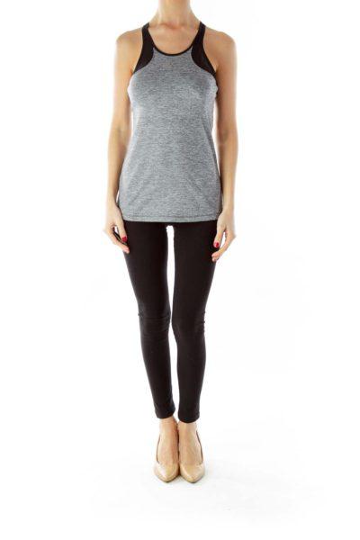 Gray Black Halter Yoga Top