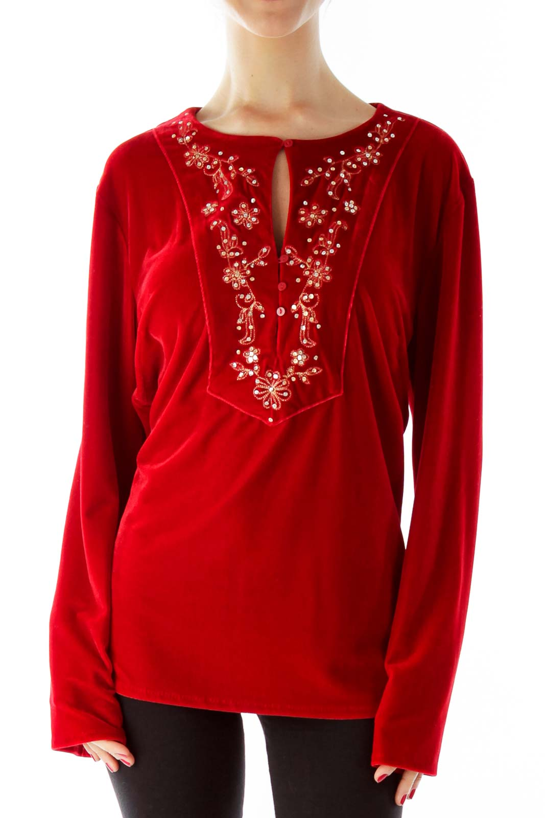 Red Velvet Sequined Buttoned Top