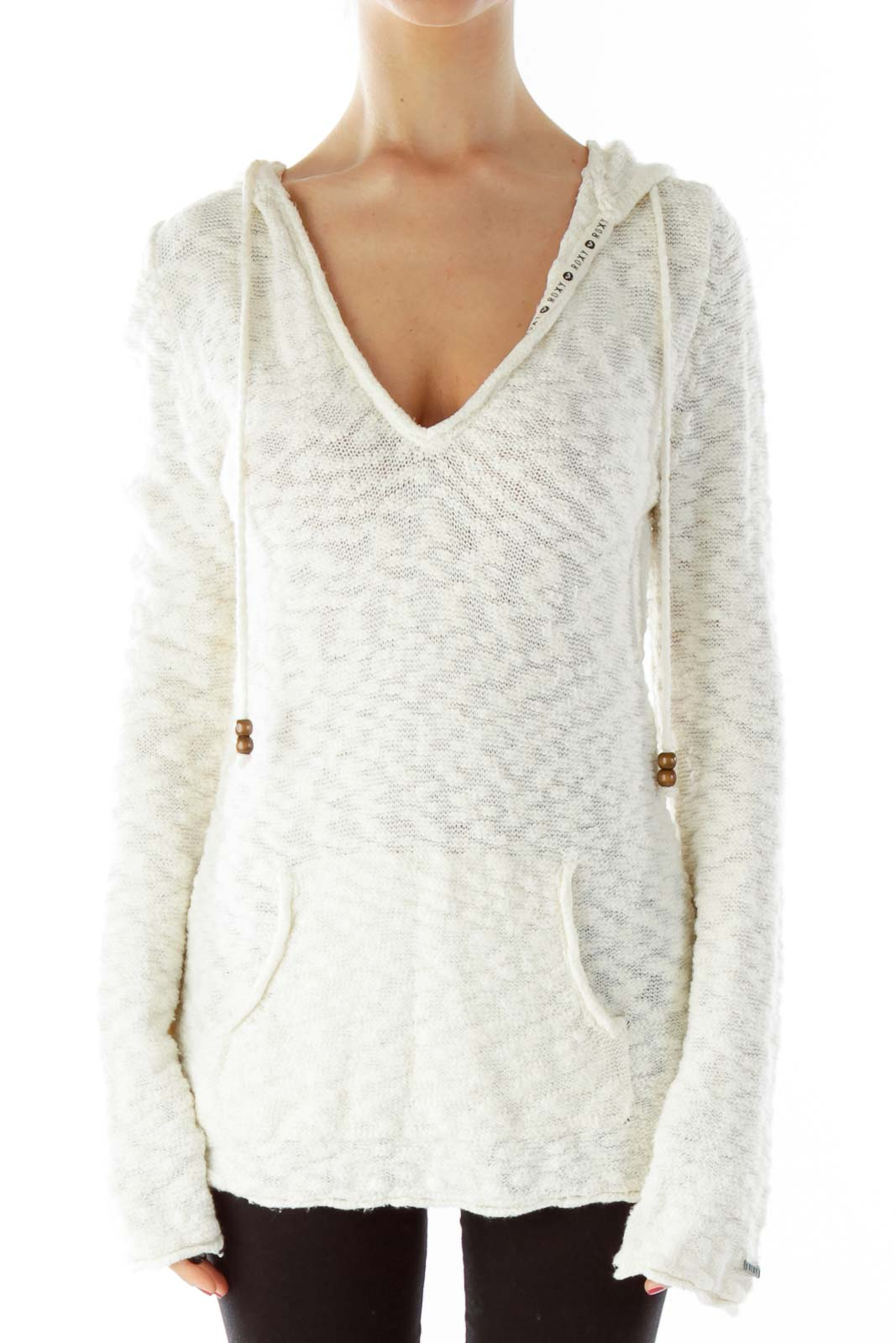 Cream Hooded Drawstring Sweater