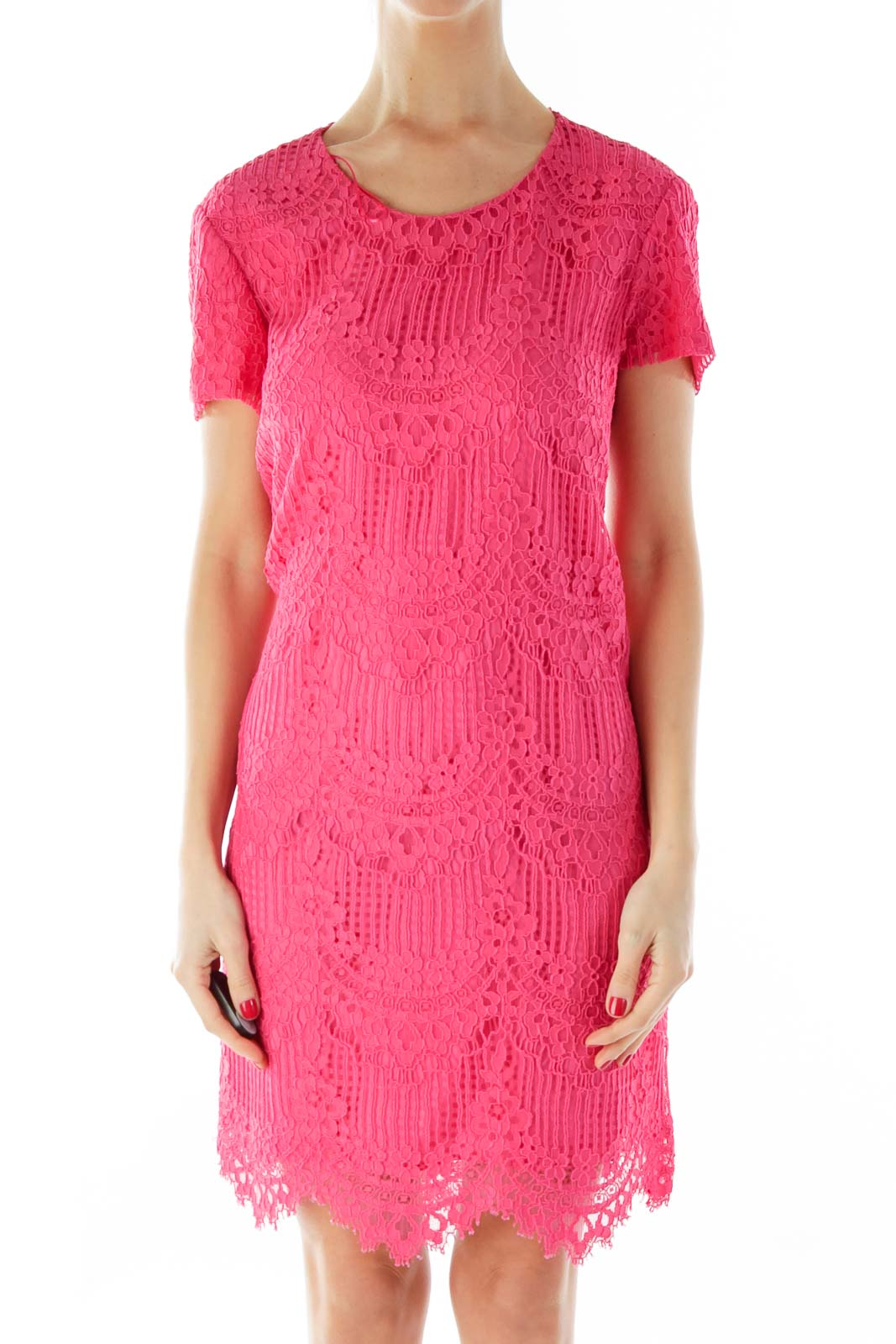 Pink Lace Short-Sleeve Day Dress