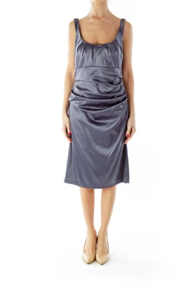 Gray Scrunched Cocktail Dress