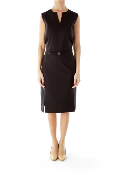 Black V-Neck Belted Work Dress