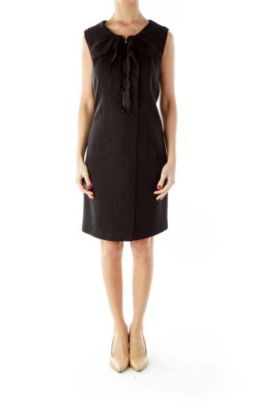 Black Ruffled Zippered Sleeveless Dress
