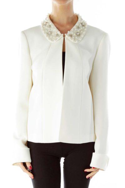 White Beaded Open Jacket