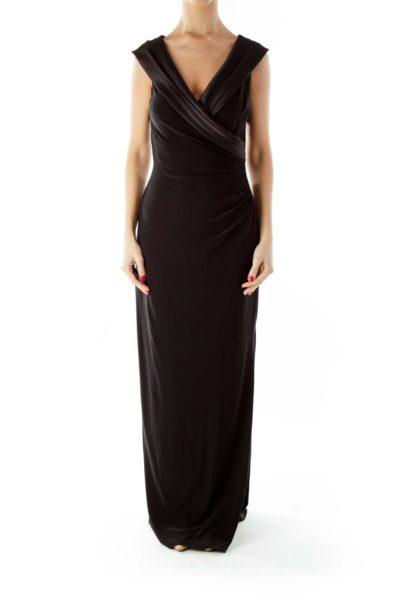 Black Scrunched V-Neck Evening Dress