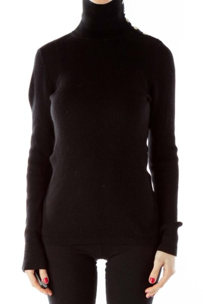 Black Buttoned Turtle Neck Merino Wool Sweater