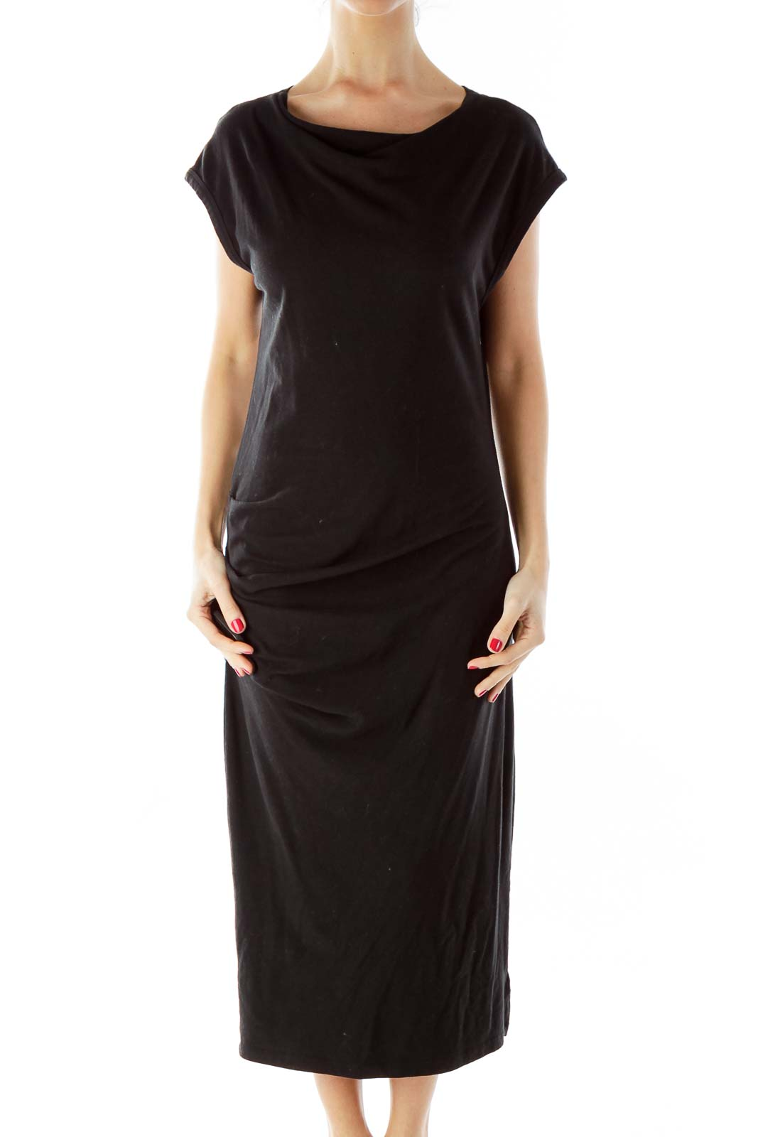Black Scrunch-Detail Day Dress
