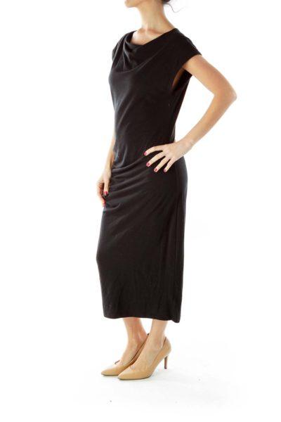 Black Scrunch-Detail Day Dress