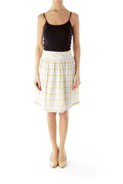 Yellow White Square Print Skirt