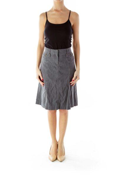 Gray Pocked A-Line Denim Skirt
