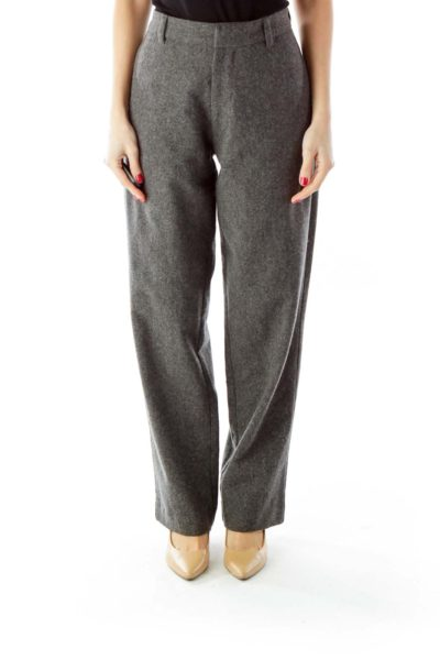 Gray Wide-Leg Wool Pants