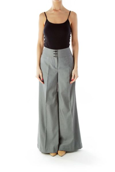 Black White Dotted High-Waisted Flared Pants