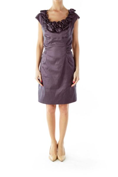 Purple Flower Scrunched Cocktail Dress