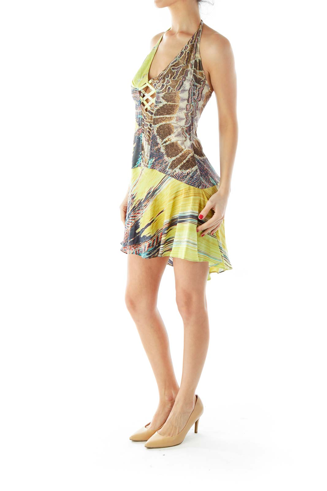 Multicolor Halter Print Dress