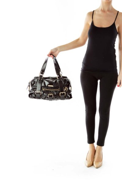 Black Gold Zippered Faux-Leather Bag