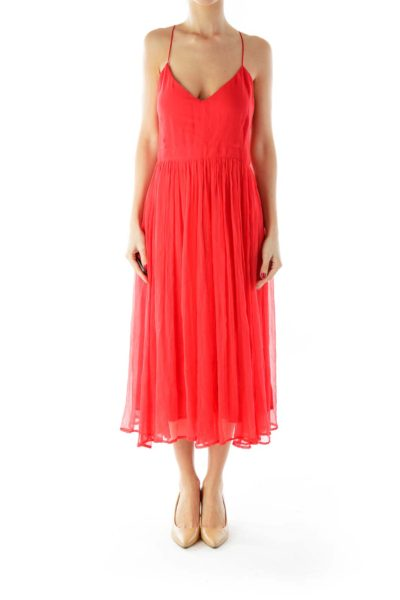 Red Pleated Tent Dress