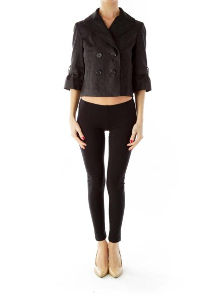 Black Denim Double-Breasted Cropped Jacket