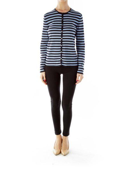 Blue Black Striped Cardigan