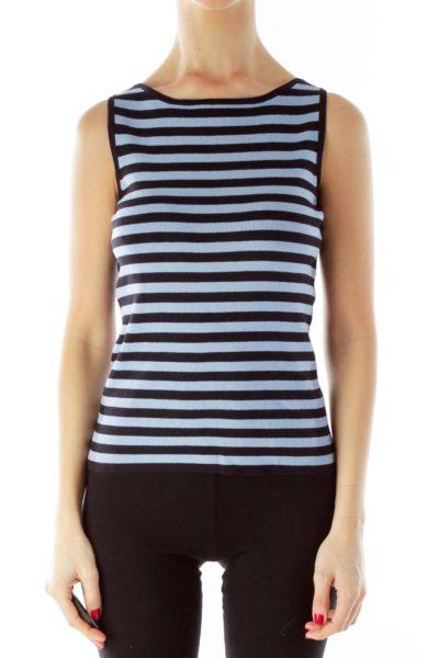 Blue Black Striped Knit Tank