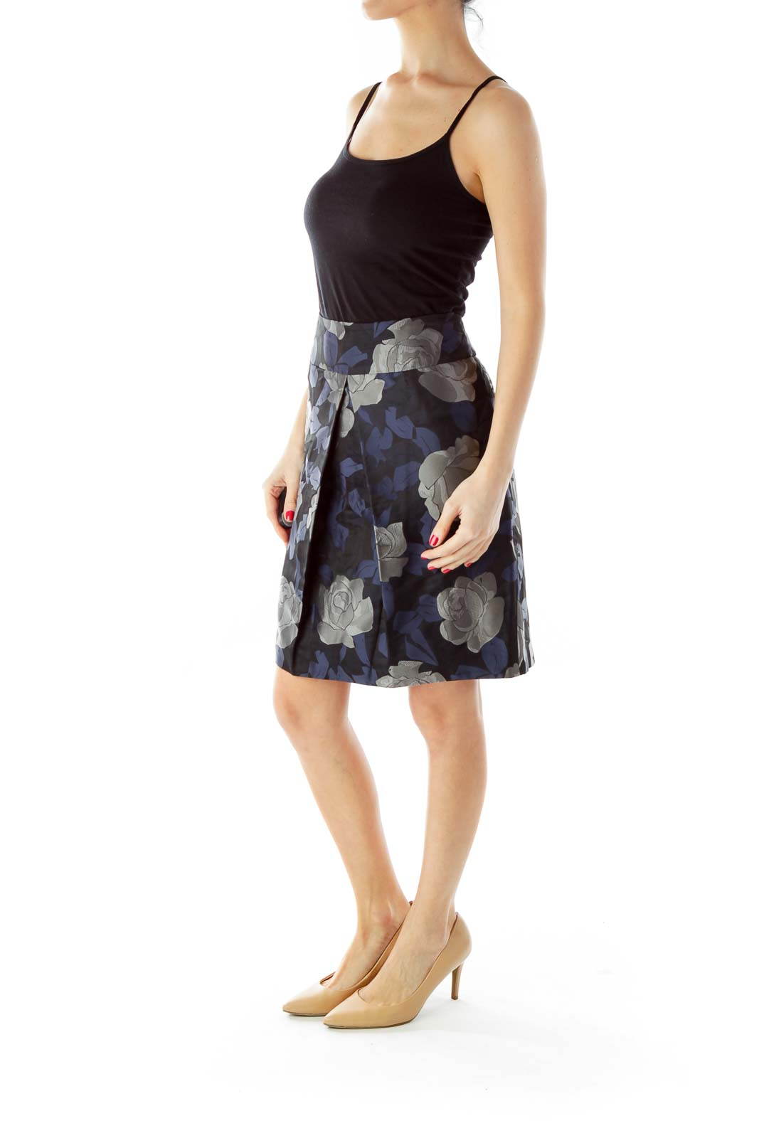 Navy Gray Black Pleated Pencil Skirt