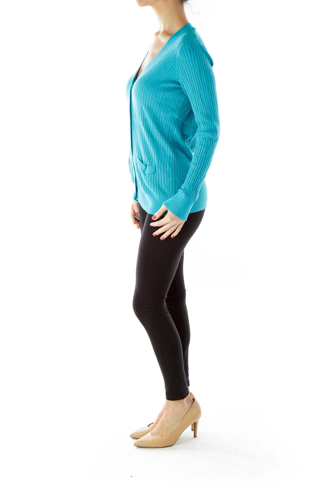 Turquoise Buttoned Pocked Cardigan