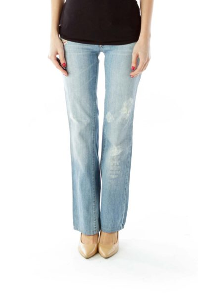 Blue Multicolor Flower Embroidered Distressed Jeans