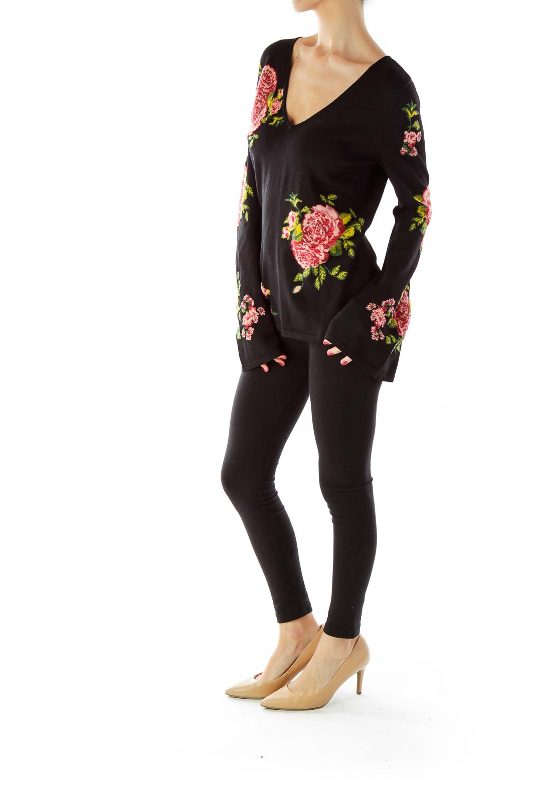 Black Multicolor Flower Embroidered Blouse