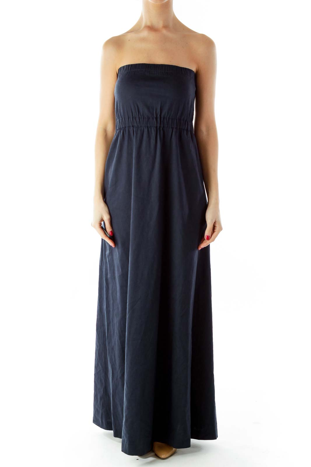 Navy Strapless Elastic Linen Maxi Dress eae3cdc93f590
