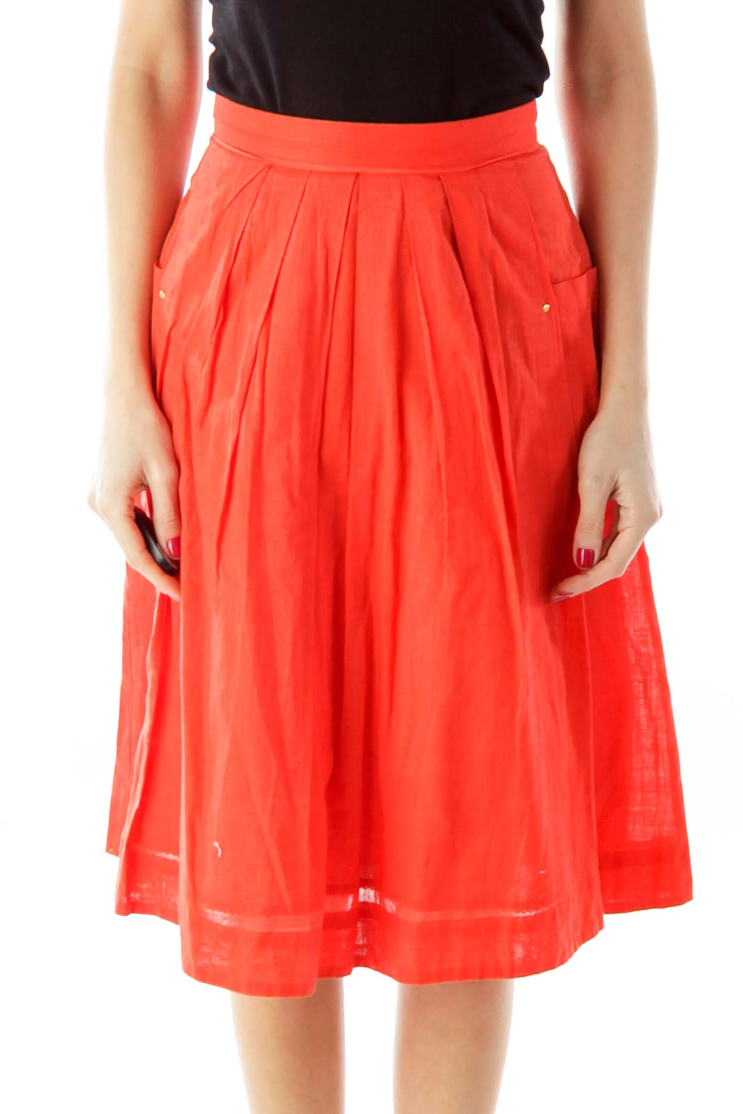 Red Fared Pleated Skirt