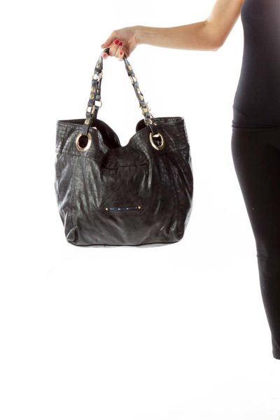 Black Gold Textured Tote