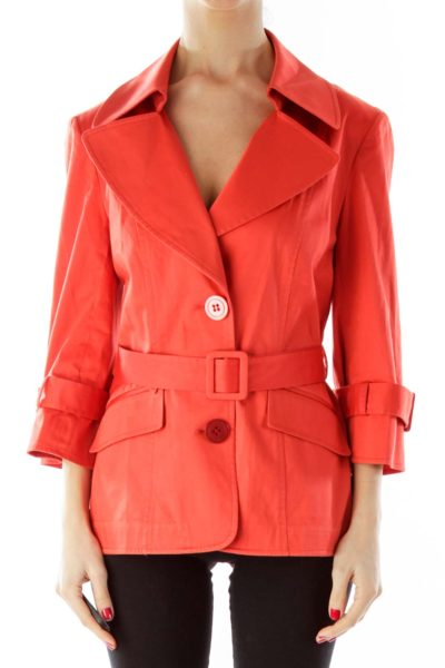 Orange Belted Buttoned Fitted Jacket