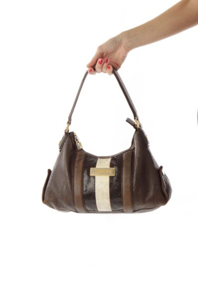 Brown Multicolor Textured Faux Snake Skin Shoulder Bag