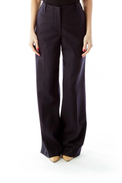 Navy Wide-Leg Slacks
