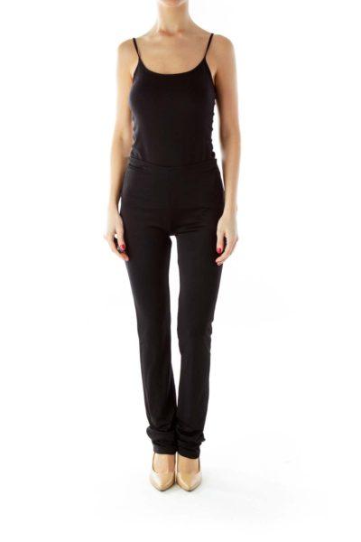 Black Elastic High-Waisted Pants