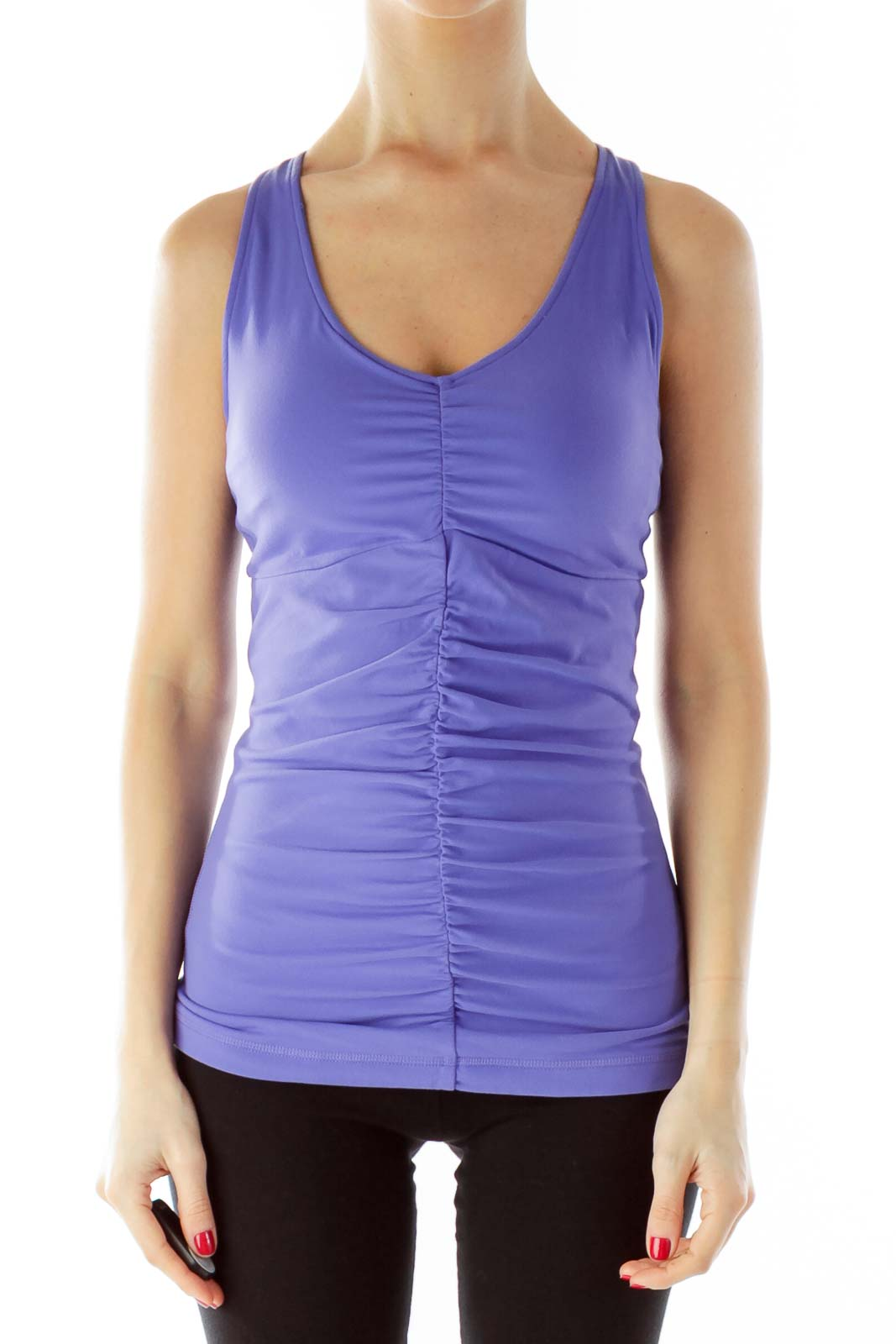 Purple Racerback Scrunched Yoga Top