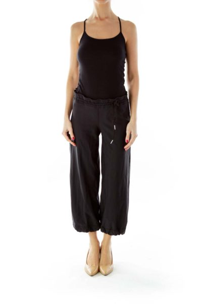 Black Drawstring Cropped Sports Pants