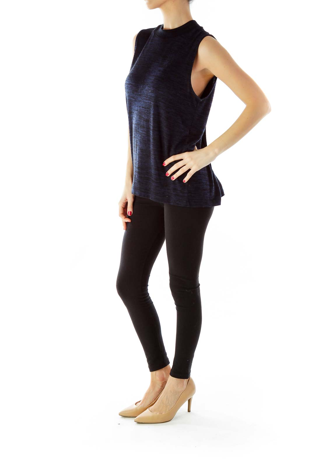 Navy Sleeveless Cut-Out Knit Top