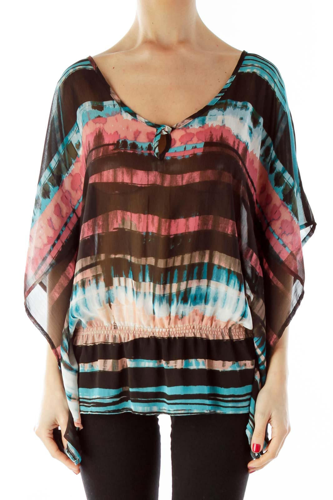 Brown Blue Scrunched Blouse