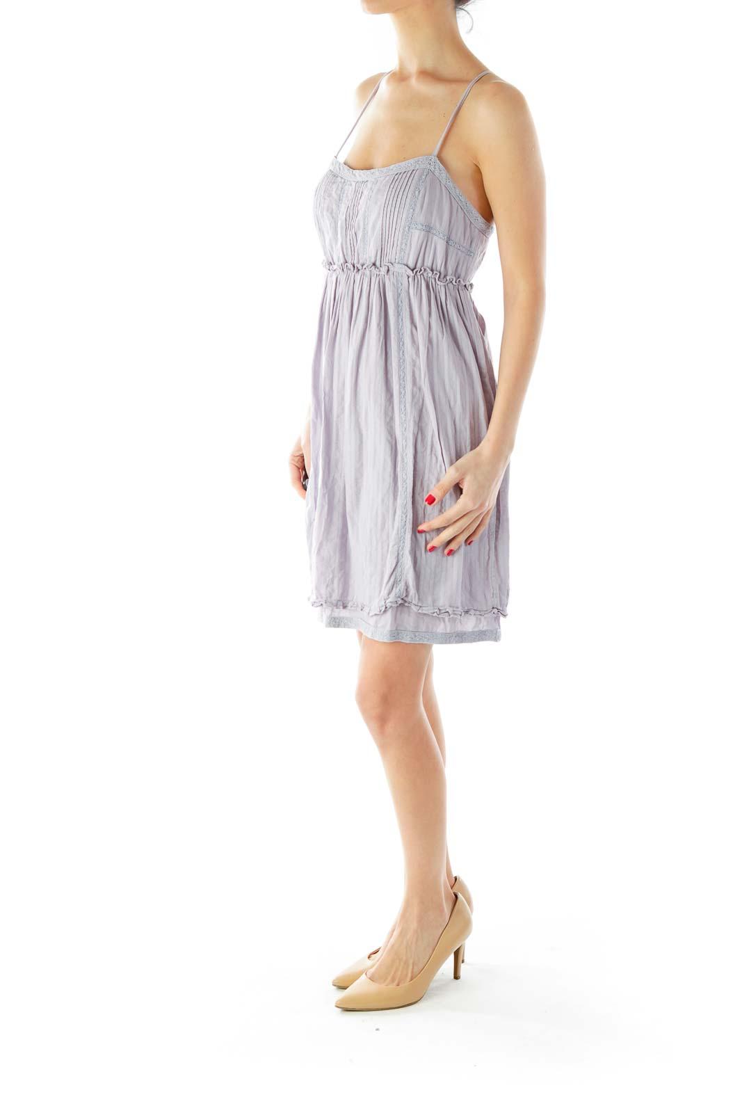 Purple Lace Scrunched Spaghetti Strap Dress