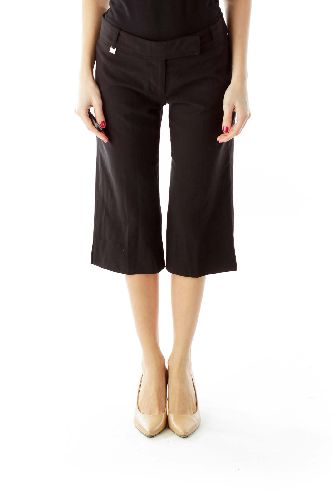 Black Cropped Slacks