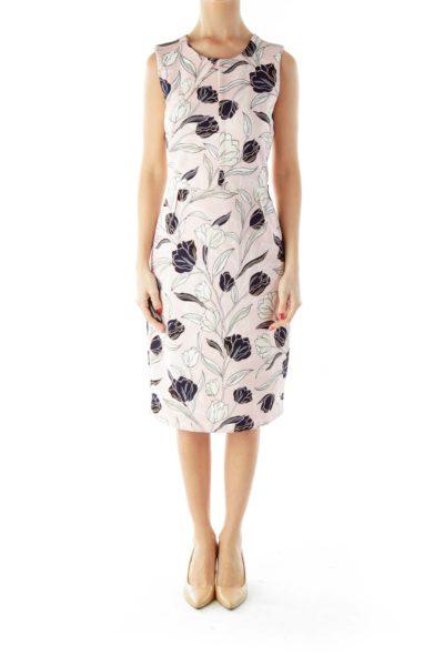 Pink Cream Navy Flower Print Dress