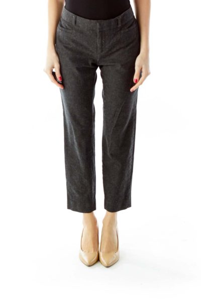 Gray Pocketed Slim-Fit Pants