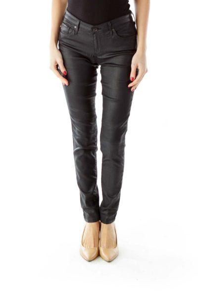 Black Shimmer Skinny Pants