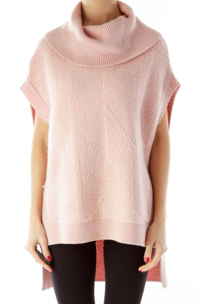 Pink Cowl-Neck Loose Sleeveless Knit Top