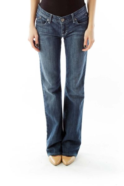 Blue Denim Flared Jeans