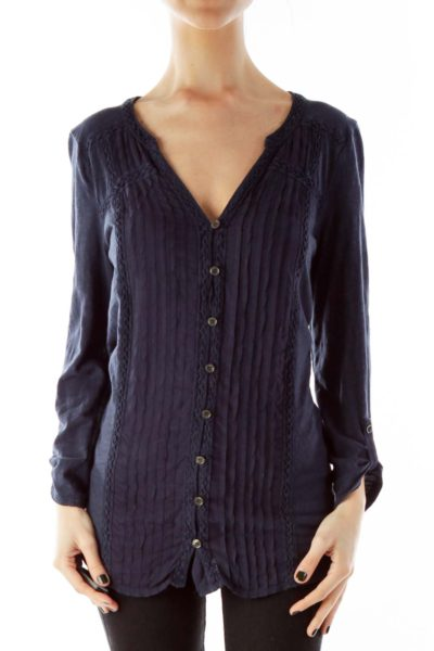 Pleated Buttoned Embroidered Tunic